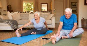 senior couple doing exercise